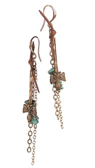 Earrings Chain & Mace Turquoise Antique Gold