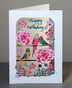 Happy B'day budgies & peonies