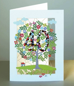 Age 40 Tree Greetings Card