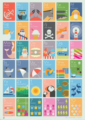 Seaside A-Z Print by Andy Tuohy