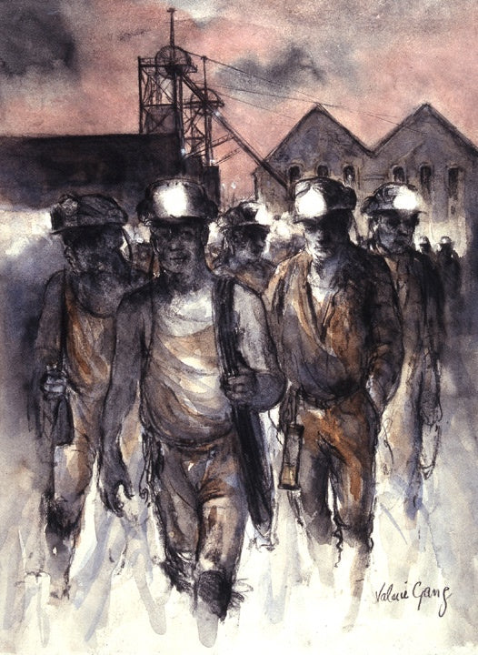 Charcoal and pastel drawing of miners leaving Six Bells Colliery in Abertilly with their miners helmets lit up.