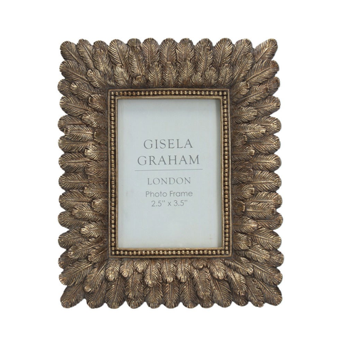 Antique Gold Resin Feather Picture Frame, Mini