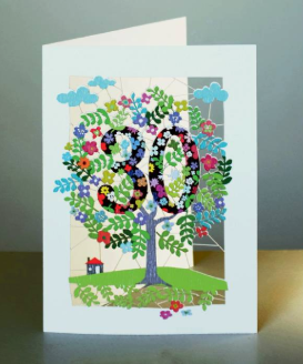 Thirtieth birthday card with the nuber 30 in the branches of a lazercut design colourful tree.