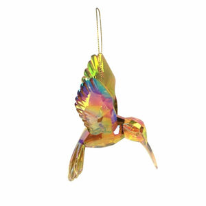 Clear acrylic hummingbird decoration in amber and rainbow colours.