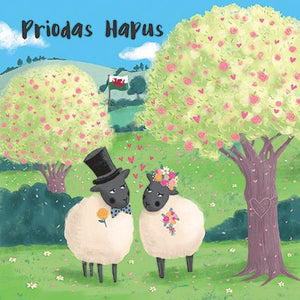 Priodas Hapus Sheep Card