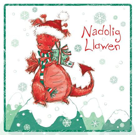 Nadolig Llawen Delwyn the Dragon Christmas Card
