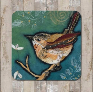 Coaster Wren on Aqua by Dawn Maciocia
