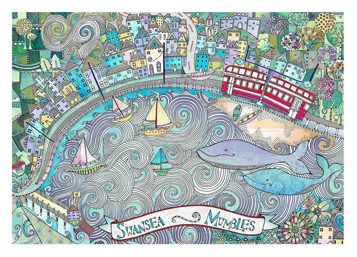 Swansea and Mumbles print sold on behalf of Hannah Davies