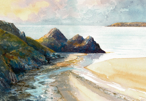 Dawn Three Cliffs Bay Square Print sold on behalf of R N Banning
