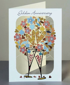 Golden Anniversary Glasses and Hearts Card