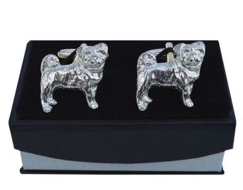Handmade Pug Cufflinks in solid pewter