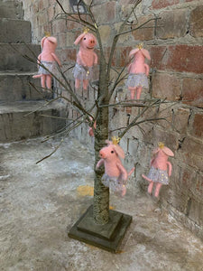 Wool Mix Pink Ballerina Pig Decoration