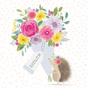Diolch 'Thanks' Hedgehog Card