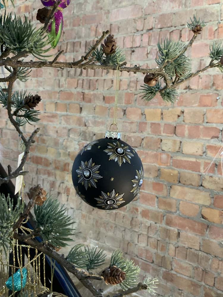 Matt Black Glass Ball with Decorative Stars