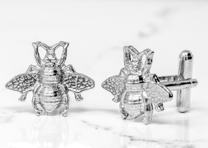 Handmade Bee Cufflinks in pewter