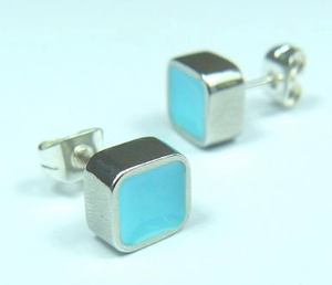 Colour Block Earstuds Turquoise sold on behalf of Koa Jewellery