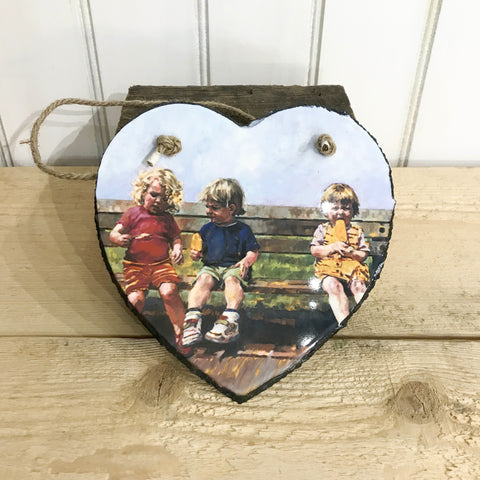 Lolly time Hanging Heart Slate 20x20cm