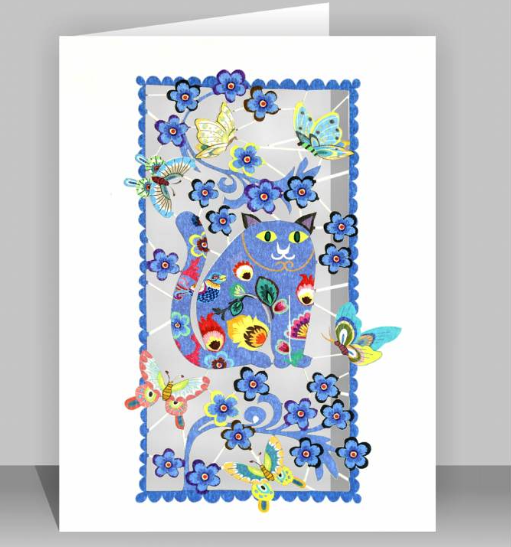 Fat Blue Cat Greetings Card