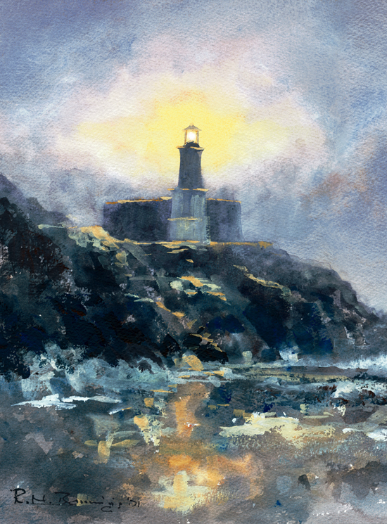 Mumbles Lighthouse Square Limited Ed Giclee Print Sold on Behalf of R N Banning