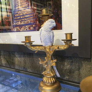White Resin Parrot on Gold 3-Arm Candlestick