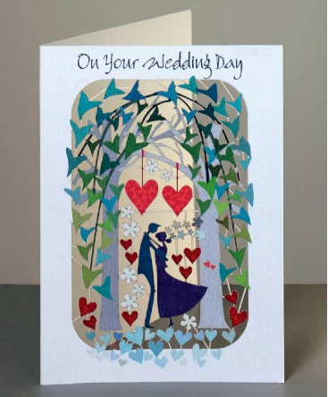 Wedding Day Couple under Arch Trees Greetings Card