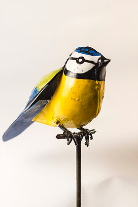 Blue Tit on Rod Recycled Metal