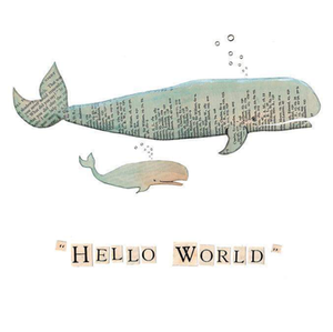 Hello world whale Greetings Card by Rachel Biddulph
