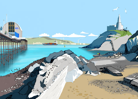 Beside Mumbles Pier Giclee Print sold on behalf of Noodle Design
