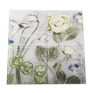 Mother's Silver Bouquet Set of Four Glass Coaster