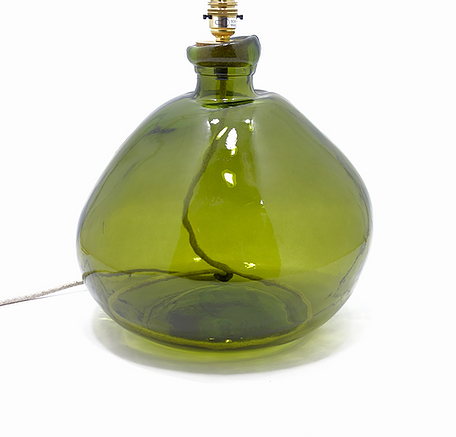 Wide Bottomed Recycled Glass Bottle Lamp Base  29x20cm