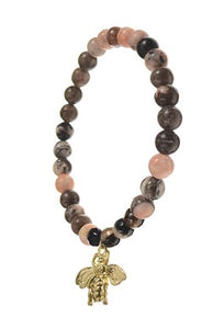 Bracelet Natural Stone Beads with Bee Charm