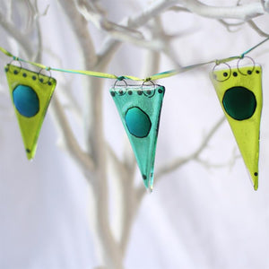 T: shimmer dot bunting- tones green by Molten Wonky