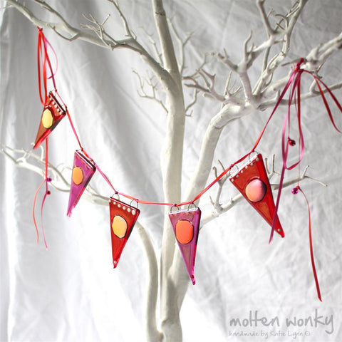 T: shimmer dot bunting- red/pink by Molten Wonky