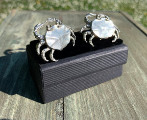 Handmade Crab Cufflinks in solid pewter