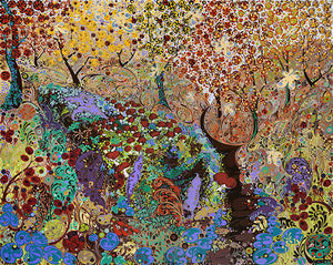 Highly patterned colourful artwork of trees by Welsh artist Katie Allen.