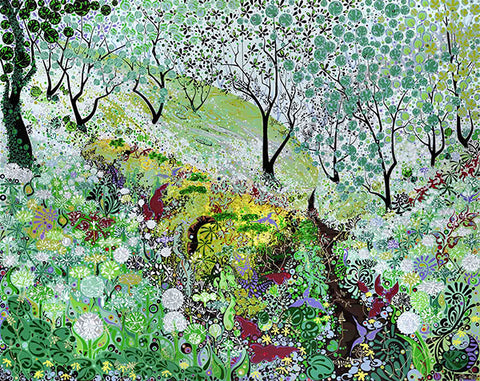 Colourful print of the countryside of Wales by Welsh artist Katie Allen