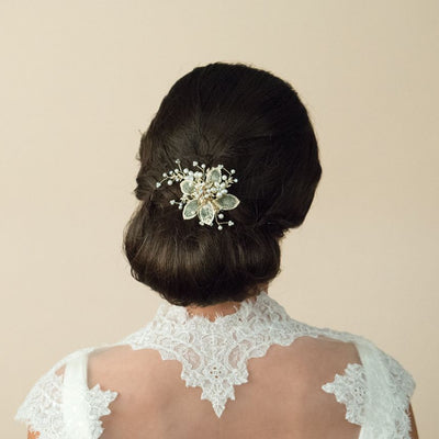 PEIGNE MARIEE<BR>Gold Pearl Flower Comb - MP Paris