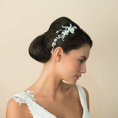 BIJOU CHEVEUX MARIAGE<BR>Silver Pearl Scroll Comb - MP Paris