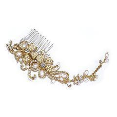 PEIGNE MARIEE<BR>Gold Pearl Scroll Comb - MP Paris