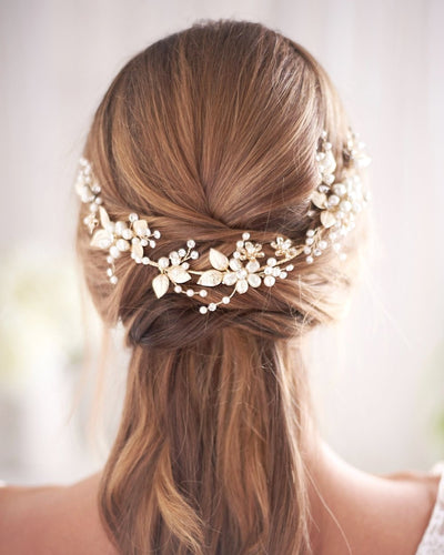 HEADBAND FLEUR MARIAGE<BR>Camryl Or - MP Paris
