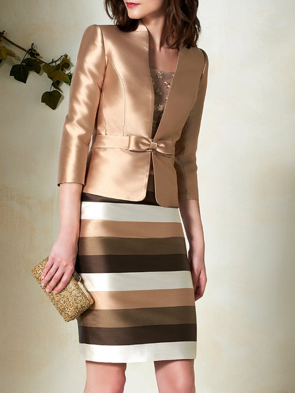 Elegant Striped Sheath Jacket With Skirt Set