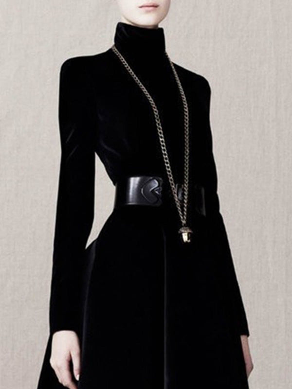 Turtleneck Black Solid Elegant Midi Dress