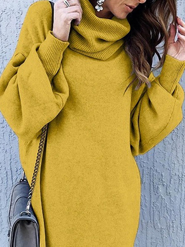 Cowl Neck Yellow Daytime Sweater Dress