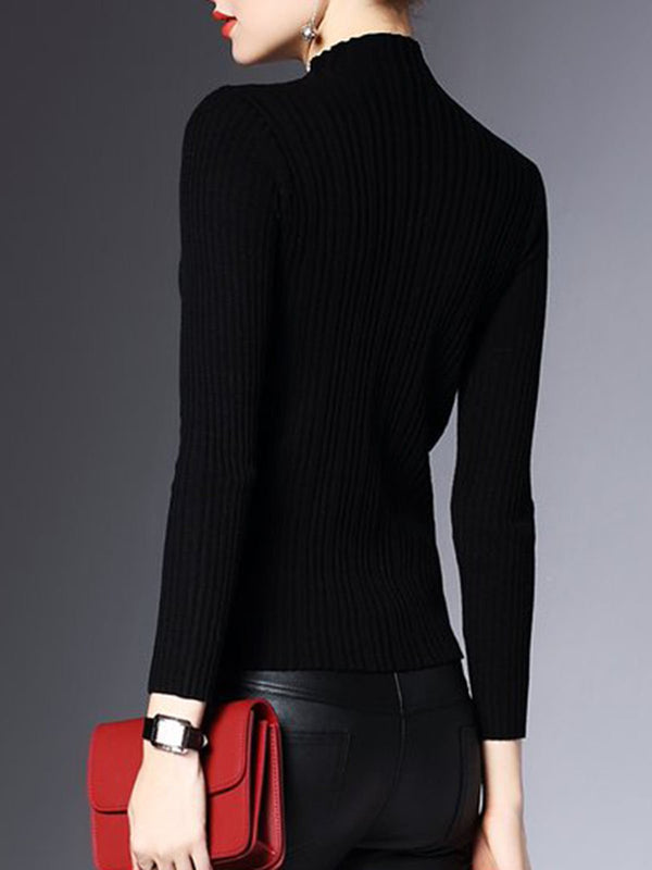 Black Elegant Knitted Striped Work Sweater