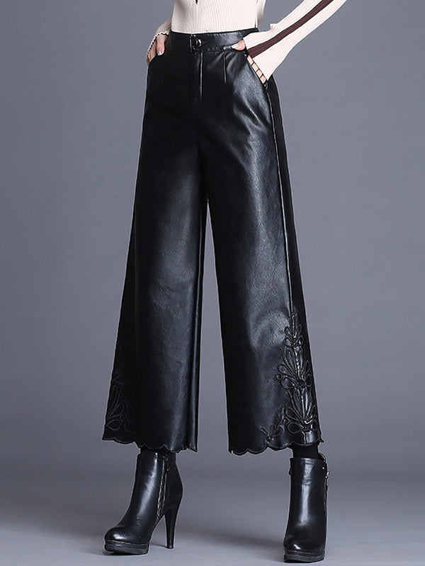Winter Fall High-Rise Black Embroidered Casual Pockets Wide Leg Pants