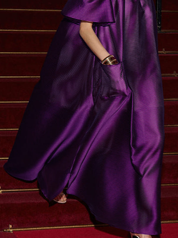 Off Shoulder Purple Maxi Dress