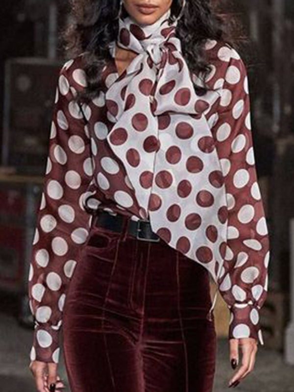 Burgundy Bow Elegant Shirts & Tops