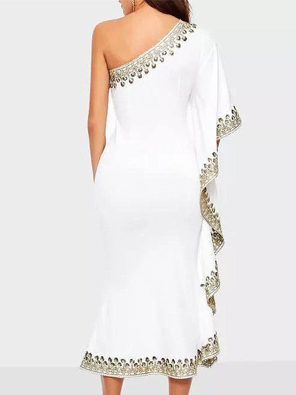 Elegant Asymmetrical Ruffled Single Sleeve Evening Midi Dress