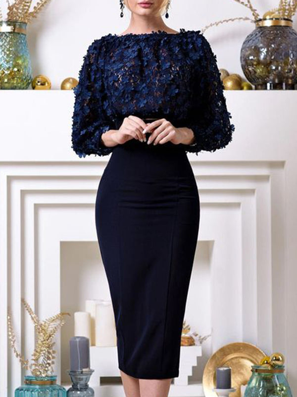 Dark Blue Bodycon Cocktail Elegant Midi Dress