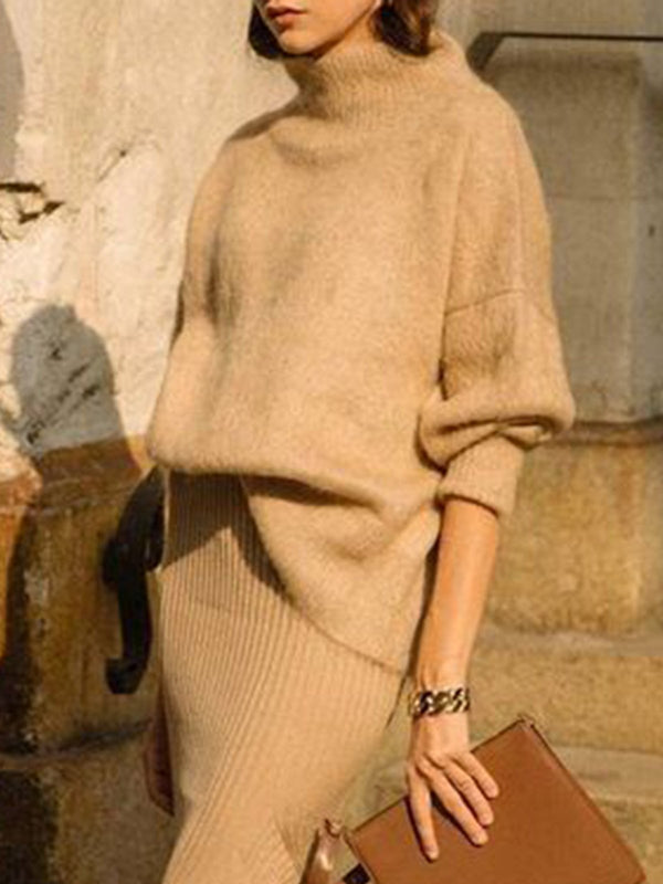 Khaki Knitted Long Sleeve Suits